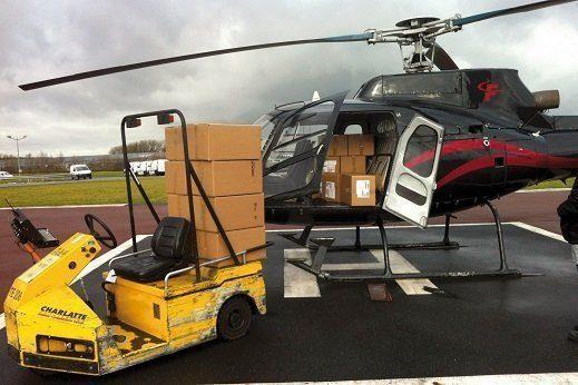Livraison urgente par hélicoptère